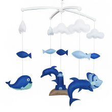 [Lovely Dolphins]Handmade Baby Crib Mobile, Hanging Music Mobile, Beautifully