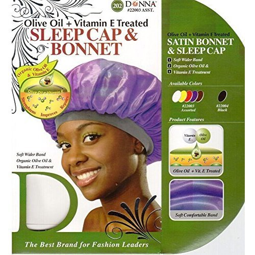 Donna s Olive Oil Vitamin E Treated Sleep Cap Bonnet Random Color