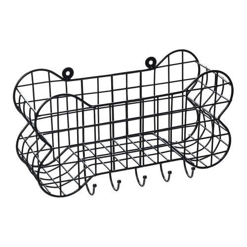 House of Paws Bone Shaped Wall Storage Basket & Dog Lead Hooks - Large