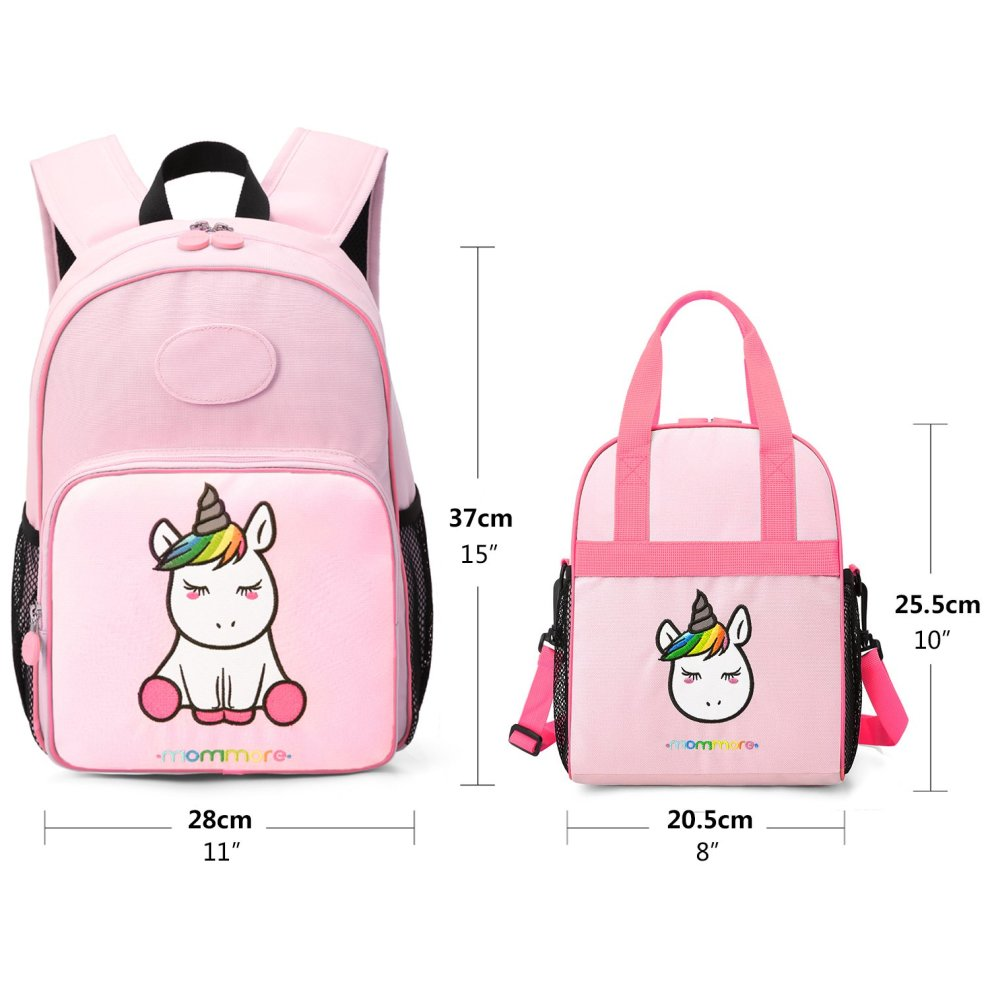 b846367162 ... mommore 2 in 1 Cute Unicorn Kids Backpack with Insulated Lunch Bag for  Boys and Girls.