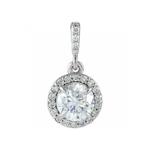Necklace Pendant With Chain 2.10 Carats Round Cut Diamonds 14K White Gold