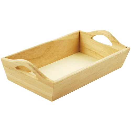 """Paintable Wooden Tray W/Handles-8.125""""X4.625""""X2.125"""""""