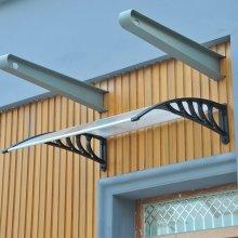 Homcom Porch Awning Rain Cover Front Door Window Canopy Sun Shade Roof (100w (cm))