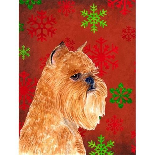 Carolines Treasures SS4701GF 11 x 15 in. Brussels Griffon Red And Green Snowflakes Holiday Christmas Flag Garden Size