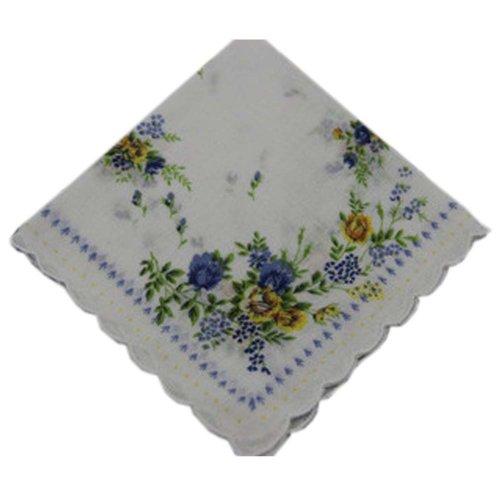 3 Pcs Retro Floral Print Handkerchiefs Ladies Cotton Pocket Handkerchief, #09