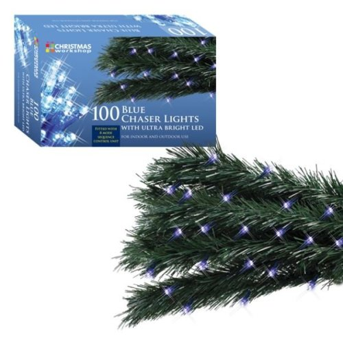The Christmas Workshop Lights 100 Ultra Bright LED Xmas String Chaser Lights - Blue