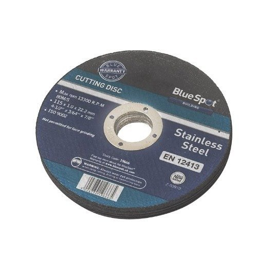 """Pack of 10 Blue Spot 4 1/2"""" Stainless Steel Cutting Discs"""