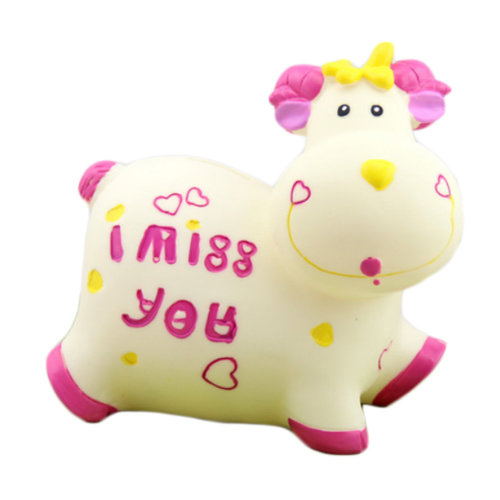 Pretty Cute Milk Cow Home Decor Ornament Money Banks Coin Banks, White/Pink