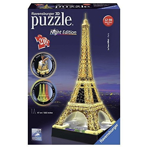 Ravensburger Eiffel Tower Night Edition 216 Piece 3D Jigsaw Puzzle for Kids and Adults Easy Click Technology Means Pieces Fit Together Perfectly