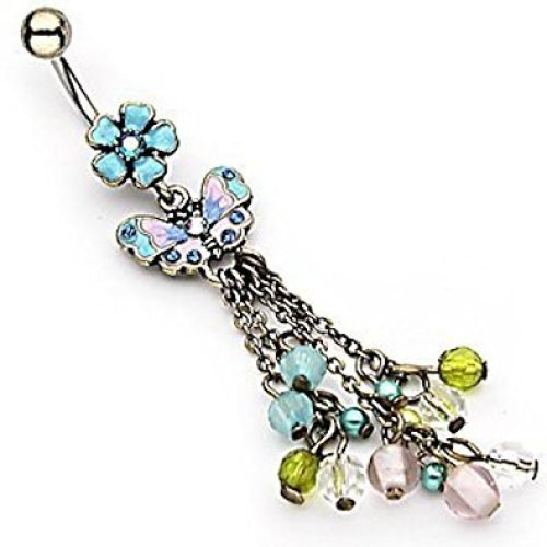 Exquisite Vintage Blue Flower and Pastel Butterfly with Multi Chain Drop Beads Belly Bar