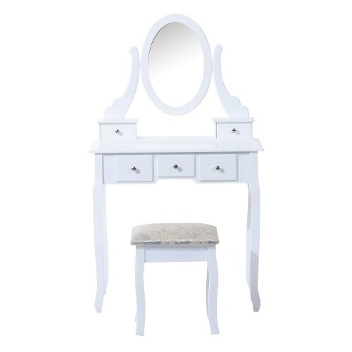 Homcom Dressing Table Set Mirror Makeup Furniture Cosmetic Storage W/ 5 Drawers