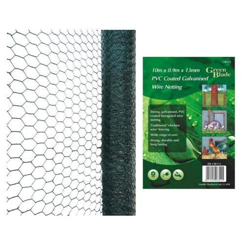 10mx0.9mx25mm Pvc Coated Galvanised Wire Netting -  green bbcw116 10 x 09m pvc coated galvanized wire netting 25mm mesh