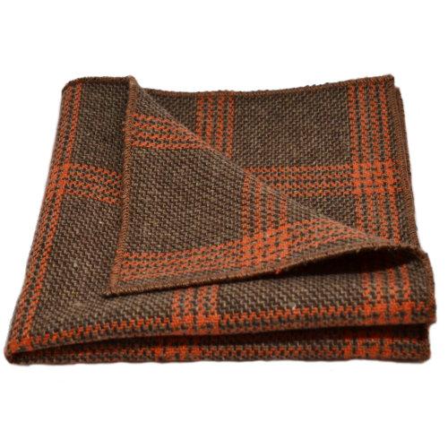 1741edaecf55 Biscuit Brown & Orange Birdseye Check Pocket Square, Handkerchief on OnBuy