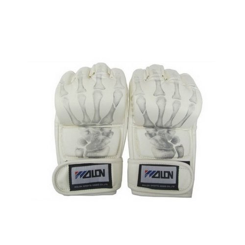 Men's Boxing Gloves White Skeleton MMA Grappling Gloves