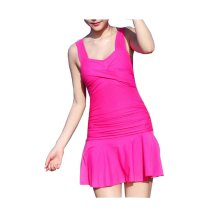 Lovely Hot Springs One-piece Skirt Swimming Apparel, Mei Red