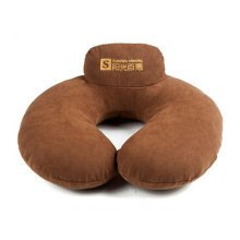 Double Comfort Healthy Neck Pillow Shape Massage Memory Pillow Home Office Brown