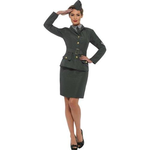 WW2 Army Girl Costume, 1940's Wartime Fancy Dress, UK Size 12-14
