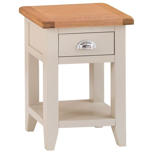 St. Ives Truffle Painted Oak 1 Drawer Small Lamp Table
