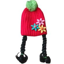 Cute Baby Girl Knitted Hat Kids Cap with Braids Red Sunflower