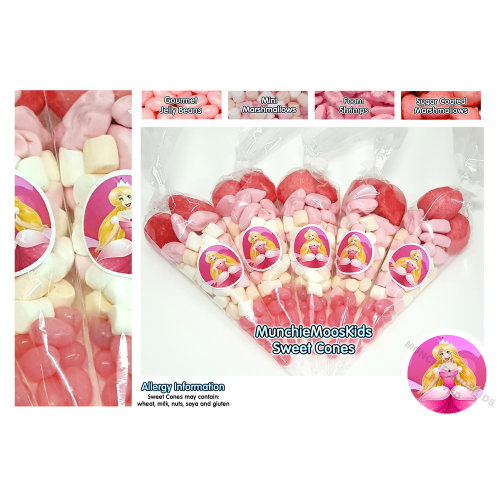 10 x Pre Filled Princess Sweet Cones 50 grams - Party Bag Sweets