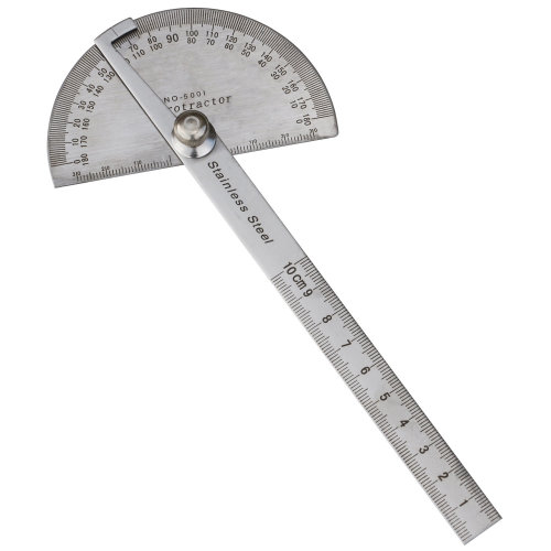 TRIXES 180 degree Stainless Steel Angle Measuring Protractor and 100mm ruler
