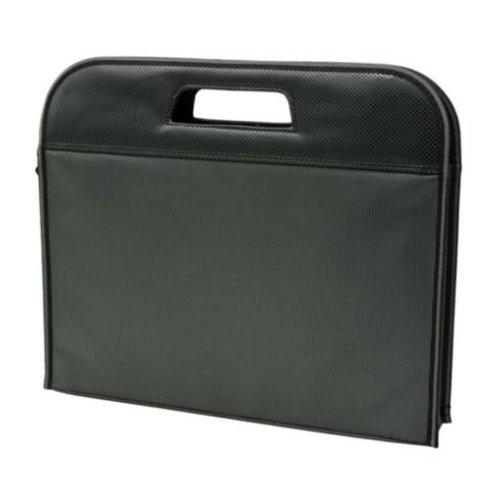 Multilayer Thicker File Holder Zippe Briefcase Information Bag-Black3