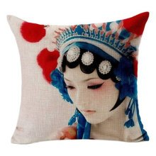 "Chinese Classical Opera Cotton Linen Throw Pillow Case Cushion Cover 18 ""X18 "" A"