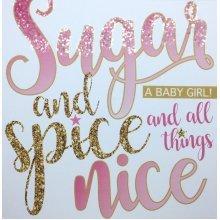 'Sugar and Spice' new baby girl birth congratulations card