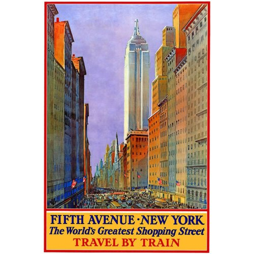 Advertising poster - Fifth Avenue New York - High definition printing on stainless steel plate