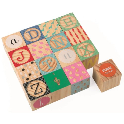 Janod Kubix - 16 Carved Alphabet Blocks