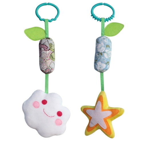 2PCS, Cute Hanging Plush Decor Stroller Toys [White Cloud and Star]