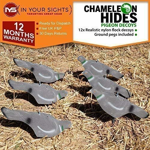 Chameleon Hides 12x Flocked pigeon decoys/Feeding pigeon shell decoys with pegs/Hunting decoy