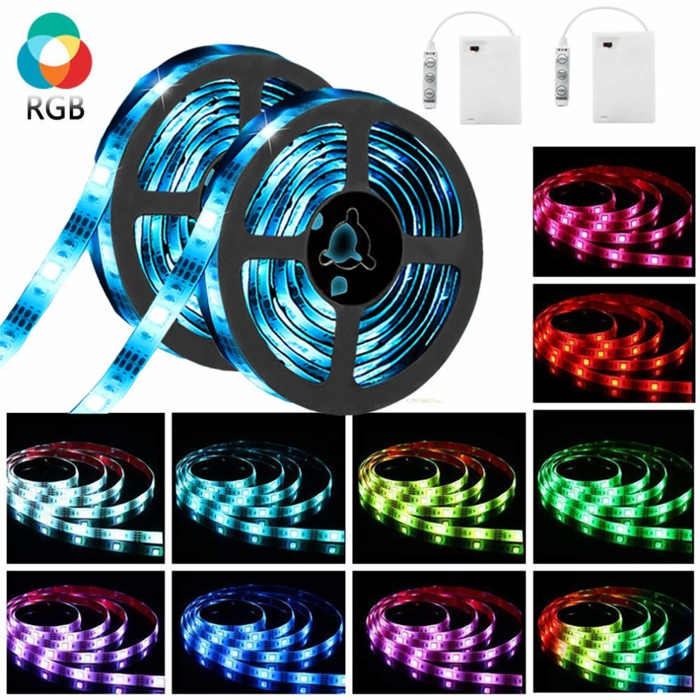 2a6d5ec74bf1 LED Strip Lights SOLMORE RGB Battery Operated Colour Changing 5050 SMD  Lighting Full Kit Waterproof IP65 Portable for TV Backlight Home Kitchen...  on OnBuy