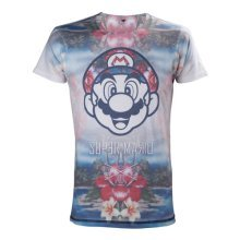 Nintendo Super Mario Bros. Adult Male Tropical Mario All-Over Sublimation T-Shirt, Small, Multi-Colour (Model No. TS221304NTN-S)