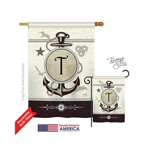 Breeze Decor 30202 Nautical T Monogram 2-Sided Vertical Impression House Flag - 28 x 40 in.