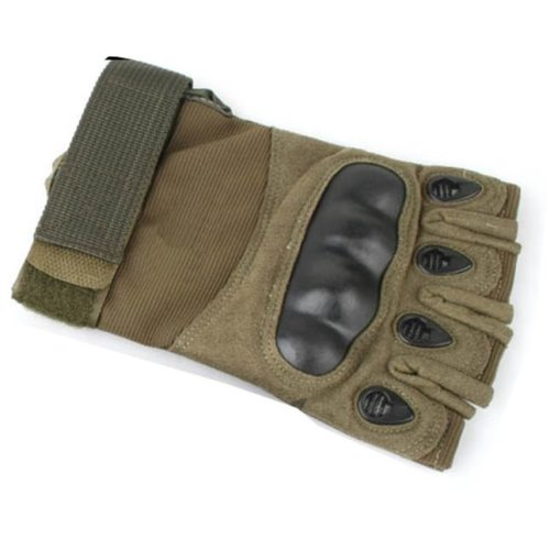 Airsoft  Fingerless Gloves Od Green Xl Knuckle Protection Half Finger