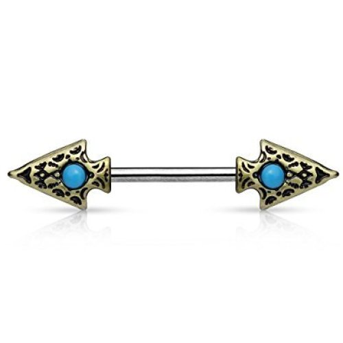 Antique Gold Plated Tribal Spear with Turquoise Detail Surgical Steel Nipple Bar 1.6mm Thickness 14mm Length