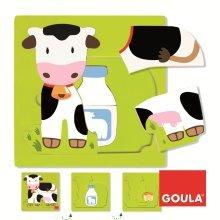 Goula 3 Levels Cow Wooden Puzzle (7 Pieces)