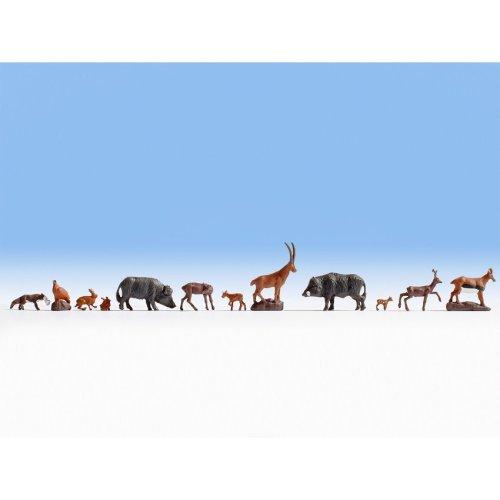 12 Forest Animals: fox deer rabbit hog- OO/HO figures - Noch 15745 - free post