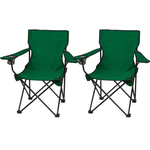 2 x GREEN FOLDING CAMPING CHAIR LIGHTWEIGHT PORTABLE FESTIVAL FISHING OUTDOOR