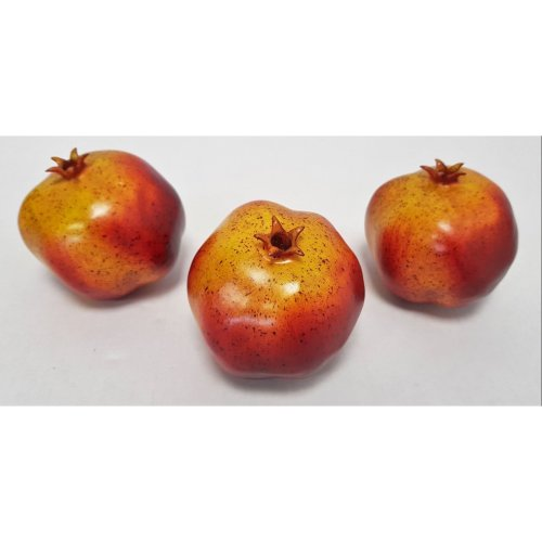 Pack of 3 Artificial Pomegranates - 9cm - Red/Yellow Plastic Decorative Fruit