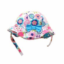 Summer Baby Girl Caps Cotton Sun Hat For 2-3 Years Baby Blue Bow