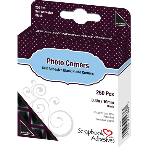 "Scrapbook Adhesives Photo Corners Self-Adhesive .375"" 250/Pk-Black"