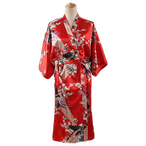 Red - Peacock Blossoms Women s Long Bathrobe Kimono Robe Silk-like Pajamas  on OnBuy fc1817763