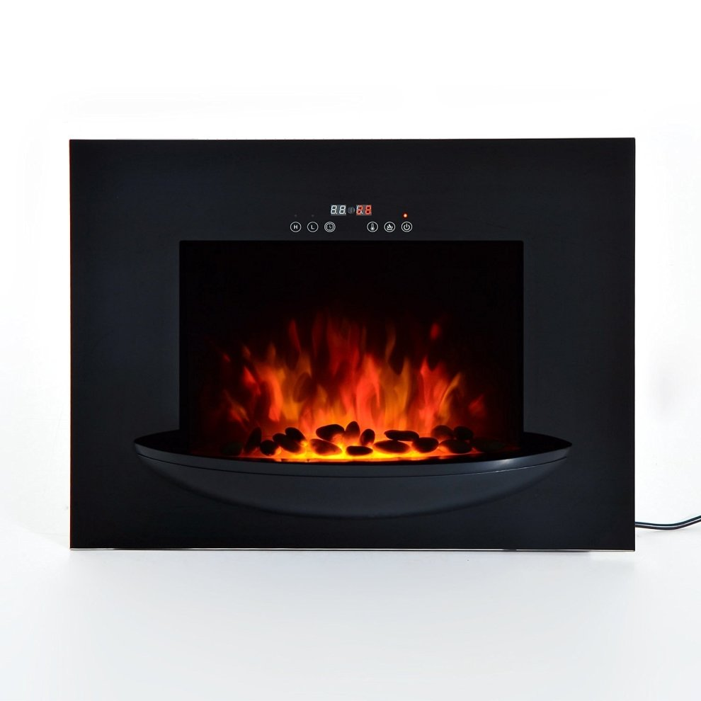 Homcom Wall Mounted Electric Fireplace Led Flame Heater 1800w On Onbuy