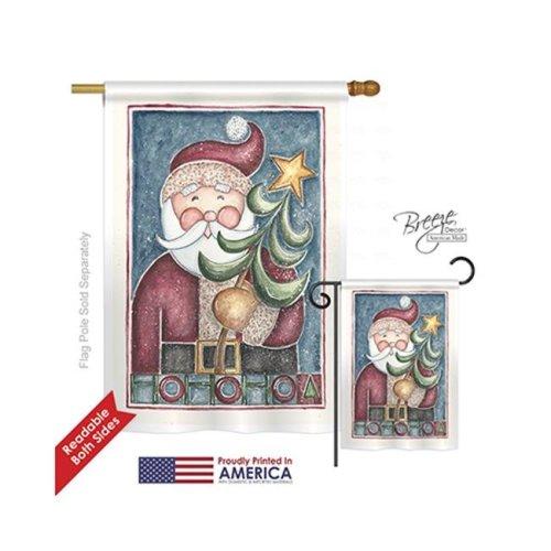 Breeze Decor 14127 Christmas HoHoHo Santa Tree 2-Sided Vertical Impression House Flag - 28 x 40 in.