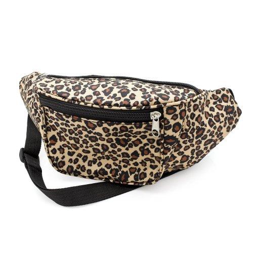 Ladies Girls Womens Brown Leopard Animal Print Retro Bum Bag