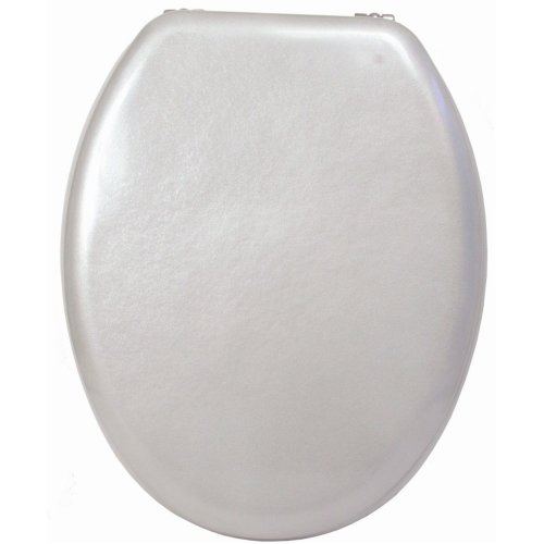Sabichi Raven 7 Toilet Seat With Hinges Fittings, Plastic, Silver -  toilet seat chrome wc wooden mdf bathroom standard size traditional hinge 30cm