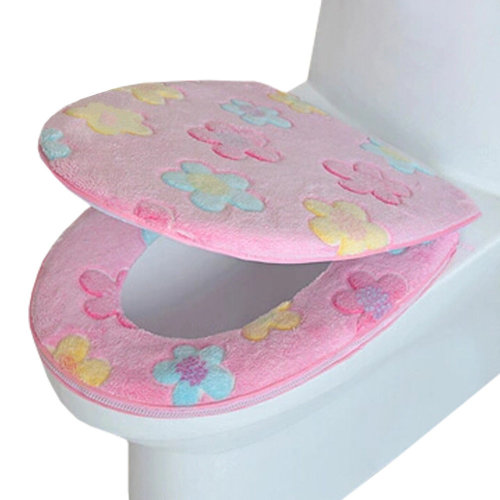 2 PCS Toilet Lid/Toilet seat cover,Warmer/Soft/Comfy Cushion Flowers PINK