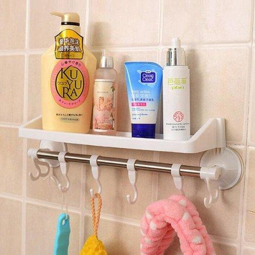 Bathroom Plastic Storage Rack Sundries Stand Corner Shelf With Hooks And Suckers